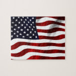 """Waving American Flag Jigsaw Puzzle<br><div class=""""desc"""">Waving USA flag. Star spangled banner. Great USA souvenirs and patriotic gifts</div>"""