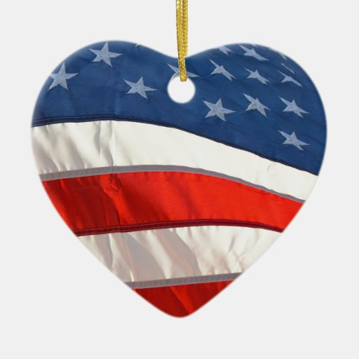 Waving american flag double sided heart ceramic christmas