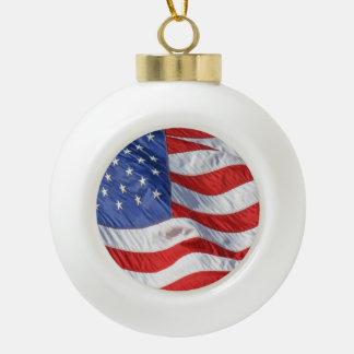 Waving American Flag Patriotic Ceramic Ball Christmas Ornament