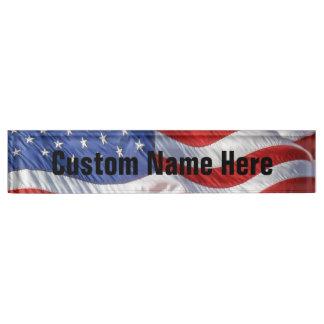 Waving American Flag Patriotic Name Plate