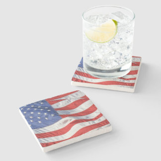 Waving American Flag Patriotic Stone Coaster