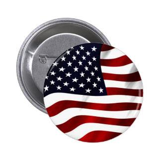Waving American Flag Pinback Button