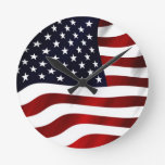 Waving American Flag Round Wall Clocks