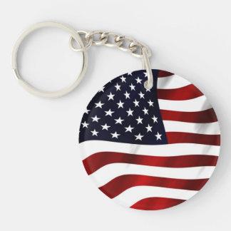 Waving American Flag Single-Sided Round Acrylic Keychain