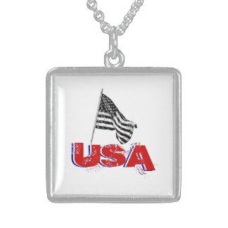Waving American Flag USA Patriot Pendant