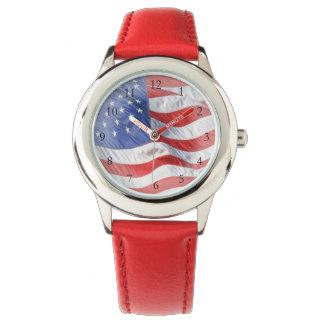 Waving American Flag Wrist Watch