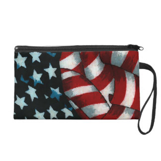 Waving American Flag Wristlet