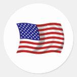 Waving American USA FLAG Stickers