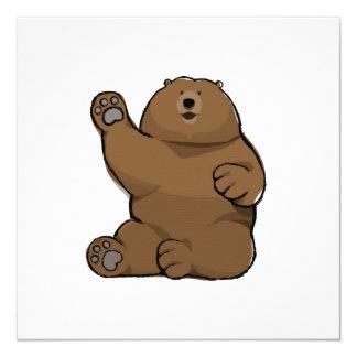 Waving Bear Blank Square Card