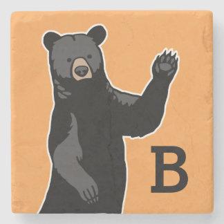 Waving Bear Says Hello, Monogrammed Stone Coaster