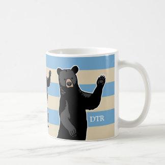 Waving Bear Says Hello, Striped, Monogrammed Classic White Coffee Mug