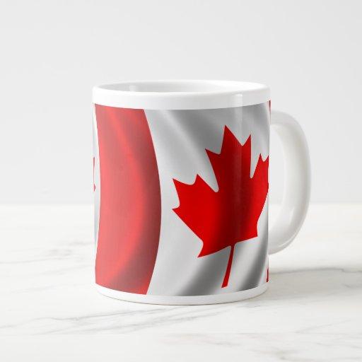 Waving Canadian Flag 20 Oz Large Ceramic Coffee Mug
