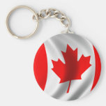Waving Canadian Flag Basic Round Button Keychain