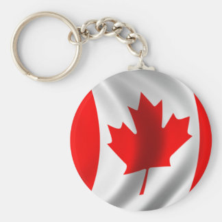 Waving Canadian Flag Basic Round Button Keychain