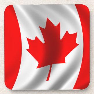 Waving Canadian Flag Beverage Coaster