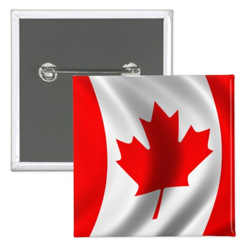 Waving Canadian Flag Button