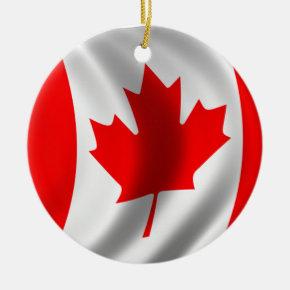 Waving Canadian Flag Ceramic Ornament