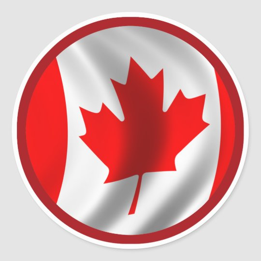 Waving Canadian Flag Classic Round Sticker