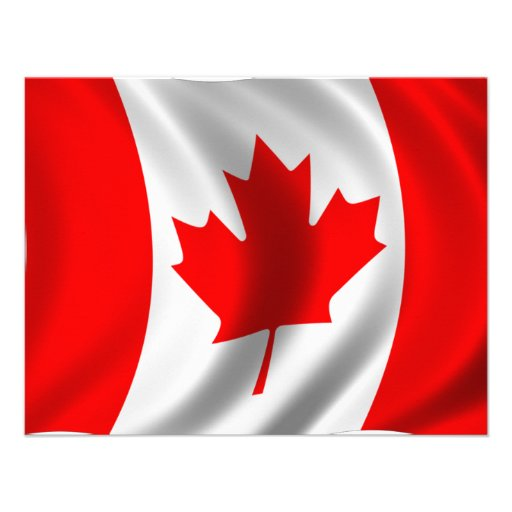 Waving Canadian Flag Custom Announcements