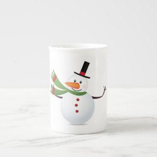 Waving Carrot Nose Snowman Tea Cup