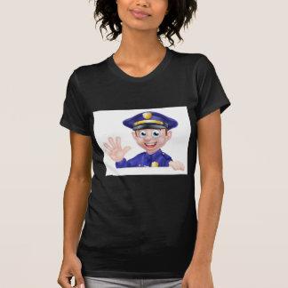 Waving Cartoon Police Man T-Shirt