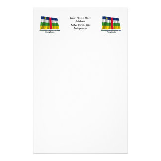 Waving Central African Rep Flag with Russian name Stationery