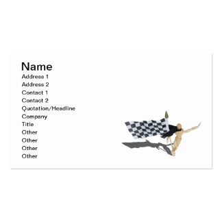 Waving Checkered Flag with Scarf Business Card