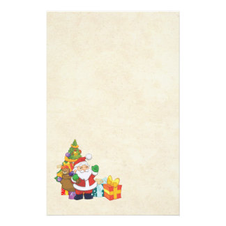 Waving Christmas Santa with a Sack of Gifts Stationery