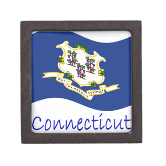 Waving Connecticut Flag And Name Premium Trinket Boxes