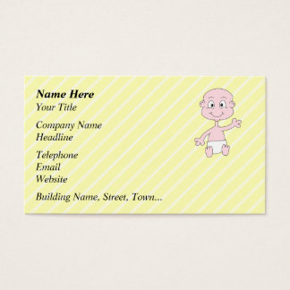 Waving Cute Baby, on yellow stripes. Business Card