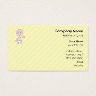 Waving Cute Baby, on yellow stripes. Custom Business Card