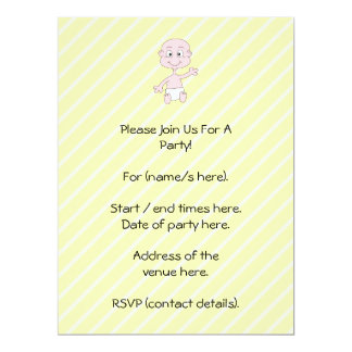 Waving Cute Baby, on yellow stripes. Custom 6.5x8.75 Paper Invitation Card