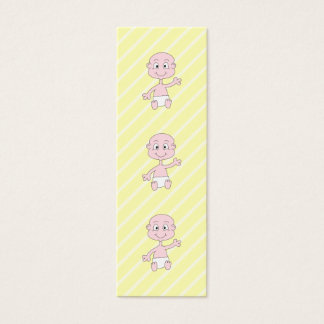 Waving Cute Baby, on yellow stripes. Custom Mini Business Card
