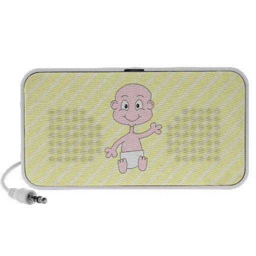 Waving Cute Baby, on yellow stripes. Custom Notebook Speakers