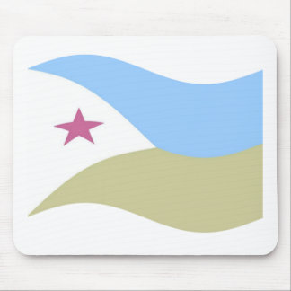 Waving Djibouti Flag Mouse Pads