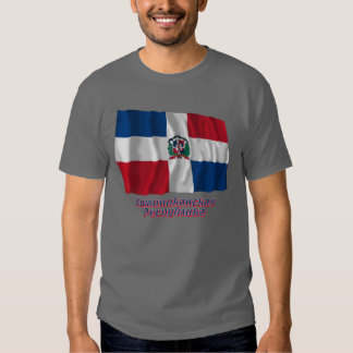 Waving Dominican Republic Flag with name in Russia Tee Shirt