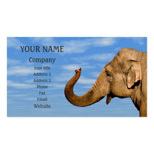 Waving elephant business card templates