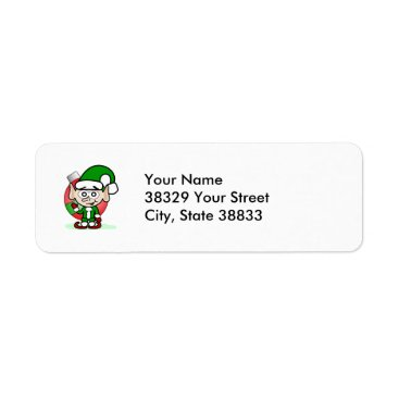 Christmas Themed Waving Elf Label
