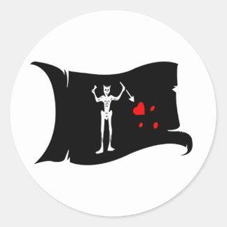 Waving Flag  #1 Blackbeard Classic Round Sticker