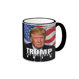 Waving Flag Donald Trump for President 2016 Ringer Mug