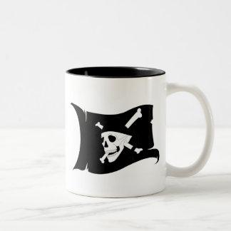 Waving Flag Jolly Roger #1 Two-Tone Coffee Mug