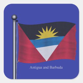 Waving Flag of Antigua and Barbuda Square Sticker