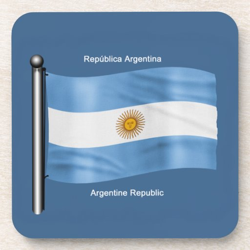 Waving Flag of Argentina Drink Coasters