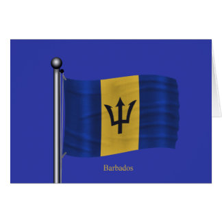 Waving Flag of Barbados Card