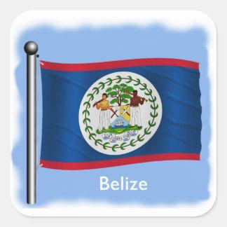 Waving Flag of Belize Square Sticker