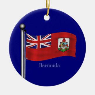 Waving Flag of Bermuda Ceramic Ornament