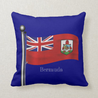 Waving Flag of Bermuda Throw Pillow