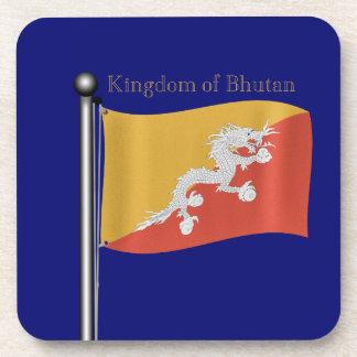 Waving Flag of Bhutan Beverage Coaster