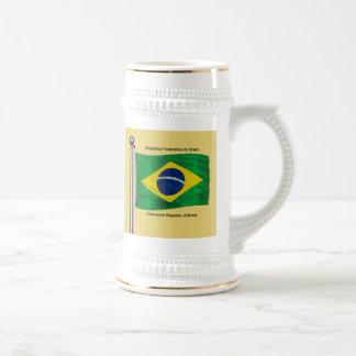 Waving flag of Brazil Beer Stein