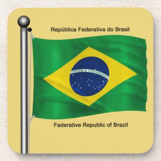 Waving flag of Brazil Drink Coasters